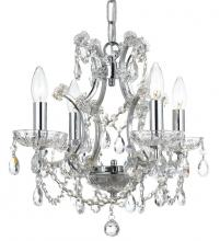 Crystorama 4454-CH-CL-MWP - Crystorama Filmore 4 Light Crystal Bronze Mini-Chandelier