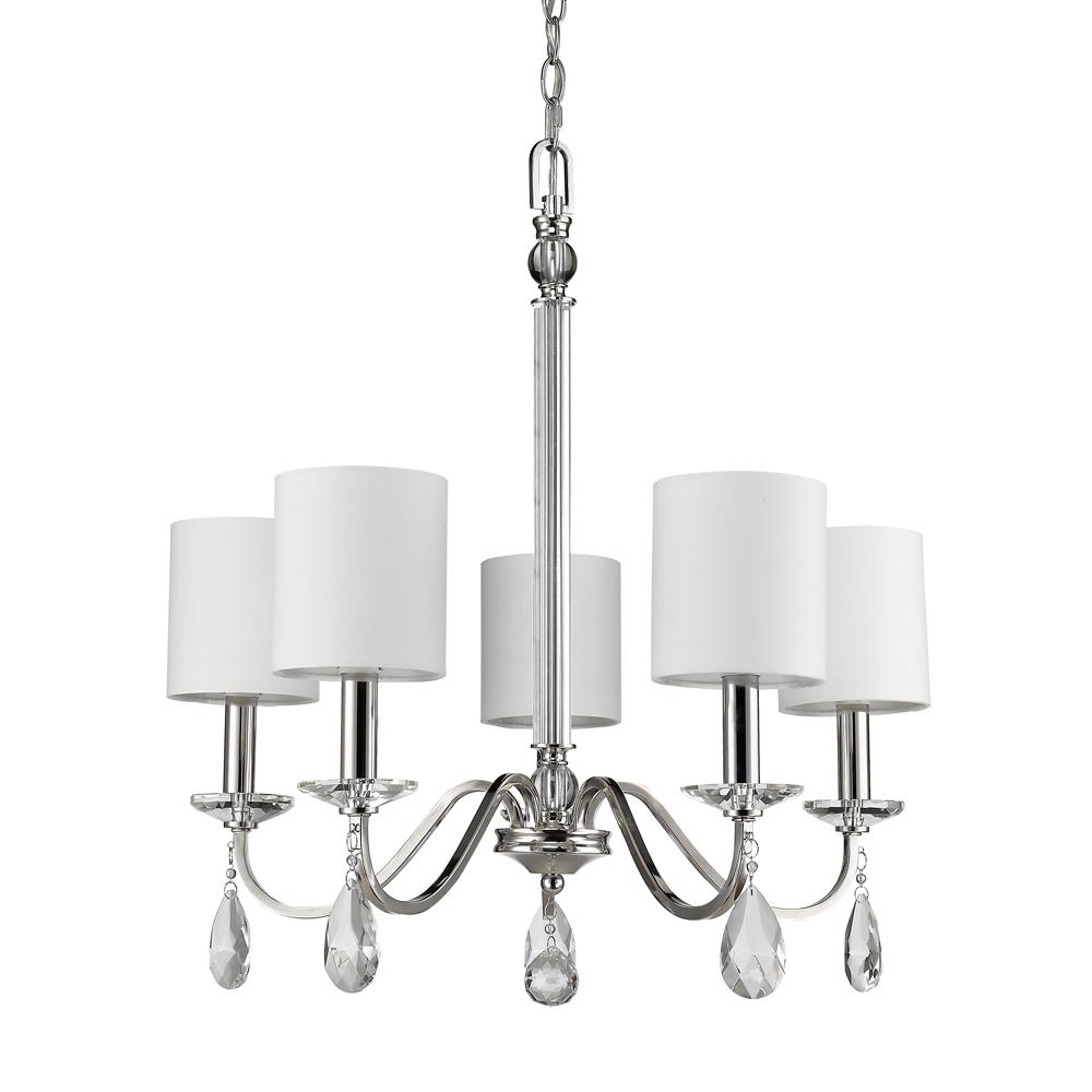 All-Lite Electric in Cleveland, Ohio, United States, Acclaim Lighting 27FT4, Lily Indoor 5-Light Chandelier w/Shades & Crystal Pendants In Polished Nickel, Lily