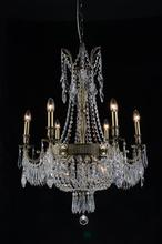 Crystal World 2048P25AB-6+3 - 9 Light Antique Brass Up Chandelier from our Brass collection