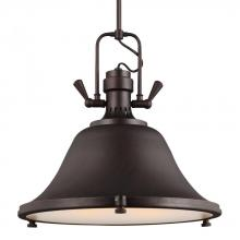 Sea Gull 6514403BLE-710 - Fluorescent Stone Street Three Light Pendant in Burnt Sienna with Satin Etched Glass Diffuser