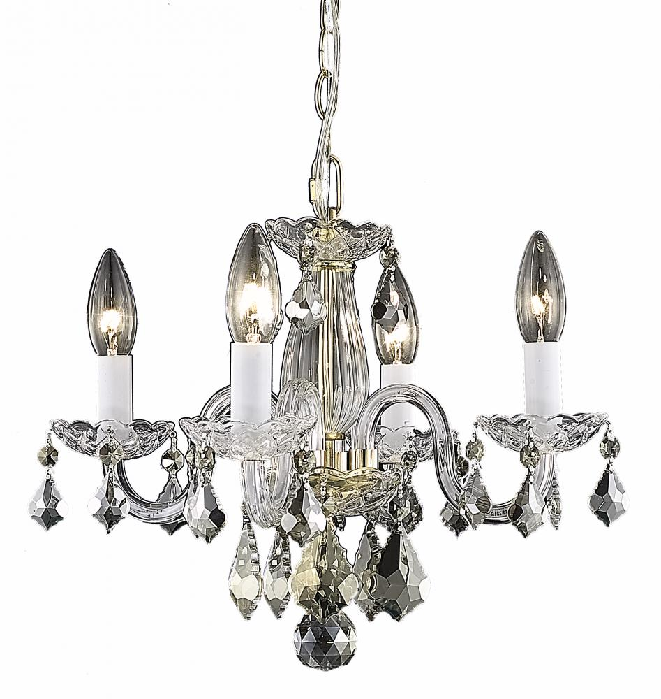 All-Lite Electric in Cleveland, Ohio, United States, Elegant HJT3P, 7804 Rococo Collection Hanging Fixture D15in H12in Lt:4 Gold Finish (Royal Cut Crystal Clear), Rococo